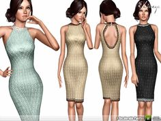 Midi Dress With Open Back by Ekinege - Sims 3 Downloads CC Caboodle