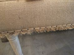 House of Fifty, Boxwoods, and a little HGTV show called Donna Decorated Dallas. Furniture Update, Diy Furniture, Burlap Table Runners, Diy Bench, Furniture Inspiration, Soft Furnishings, Slipcovers, The Help, Upholstery