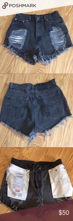 """Street Style Furst Of A Kind Levi's Shorts Hipster Street Style Furst Of A Kind Levi's Shorts! Bought at LF; Distressed up-cycled vintage Levi's jeans revamped to hipster Street style high waisted distressed shorts; note label reads size 12, but that's a vintage size; In my opinion this is a size medium; measurement pictures are posted; waist about 30""""; length about 14""""; questions please ask; Levi's Jeans"""