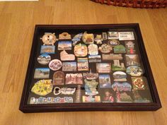 Magnet collection from Europe in a shadow box. Great way to display magnets without them cluttering the fridge or getting broken.