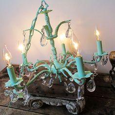 Vintage crystal chandelier sea foam mint green by AnitaSperoDesign