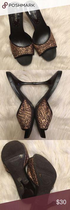 BCBGIRLS Monogram Parnell Slide Size 10, in great condition, open toe front slide on sandal, 1/4 inch hidden platform and 3 1/4 heel BCBGirls Shoes Sandals