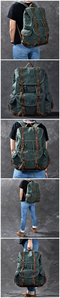 Waxed Canvas With Leather Backpack Vintage Large Capacity Backpack Travel Backpack ESS228 Latest Beard Styles, Canvas Backpacks, Mens Fashion Blog, Waxed Canvas, Travel Backpack, Christmas Shopping, Laptop Sleeves, Green And Grey, Leather Backpack