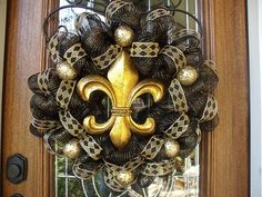 GO SAINTS!  Just a Photo. Fleur de Lis Wreath. FYI: This pin doesn't take you to any DIY directions.