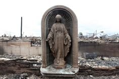 The Breezy Point Blaze    The waterfront community of Breezy Point was one of the areas hit hardest by Sandy after a fire broke out and burned more than 100 homes to the ground.  This statue survived the blaze!!!