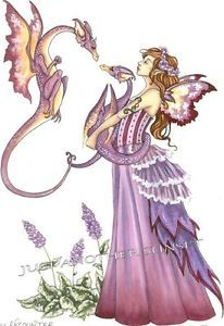 Baby Dragon Amy Brown   Amy Brown Print Shy Encounter Dragon Twins Fairy Faery Baby Mother ...