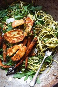 Gluten free pasta tossed in preserved lemon and herb oil, served with honey and butter roasted carrots, haloumi, maple toasted pepitas, and lots of greens. #realfood #pasta