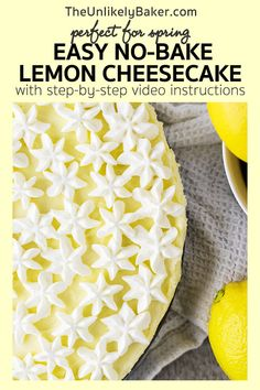 No bake lemon cheesecake - light, creamy, so easy to make. Lemon Cheesecake Recipes, Healthy Cheesecake, Lemon Dessert Recipes, Cheesecake Desserts, Lemon Recipes, Tart Recipes, Easy Desserts, Delicious Desserts, Lemon Curd Filling