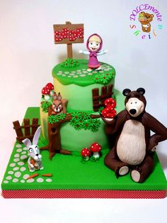 Masha Cake, Masha And The Bear, Yoshi, Winnie The Pooh, Children, Fictional Characters, Cakes, Birthday Ideas, Shopping
