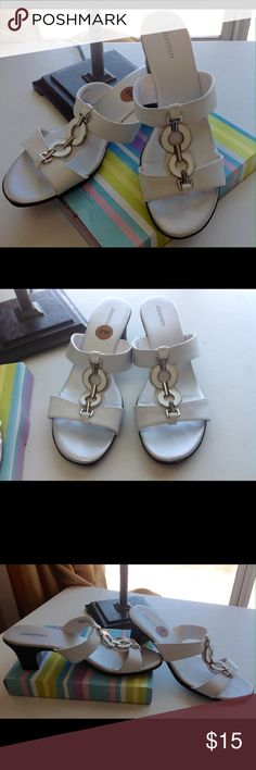 """White Dress Sandals 2 1/4"""" heel with two straps across & T  strap, silver & white embellishment. Shoes Sandals"""