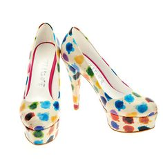 Elite Goby Painted Dots Platform Heels in Multicolor Dream Shoes, Crazy Shoes, Me Too Shoes, Classy Chic, Suede Shoes, Womens High Heels, Shoe Game, Shoe Closet, Fashion Boots