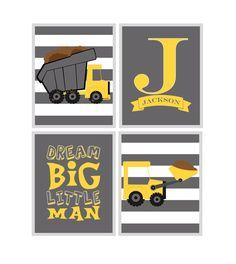 Construction Nursery Wall Art, Baby Boy Print, Dump Truck, Bulldozer, Dream Big LIttle Man, Monogram - Play Room Kid Art, Yellow Gray by PixiePaperSTL on Etsy https://www.etsy.com/listing/253398211/construction-nursery-wall-art-baby-boy