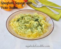 Easy and Healthy Spaghetti Squash with Pesto Sauce.  Low carb, vegan, grain free, gluten free and kid friendly.  Very easy recipe. #vegan #glutenfree #paleo #grainfree #healthy #meatlessmonday