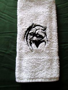 Raccoon Face Black Outline On White Bath Hand Towel by cdosehn