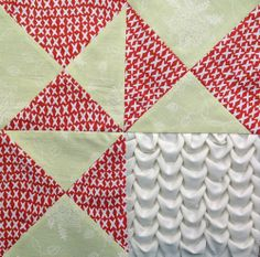 Block 12: shell smocking – Textured 4-patch quilt | Sewn Up by TeresaDownUnder