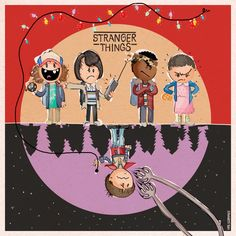 """""""Just finished Stranger Things and had to draw all of these guys right away!"""" Art by Spaghetti Toes - Dustin Henderson, Mike Wheeler, Lucas Sinclair, Eleven, and Will Byers."""