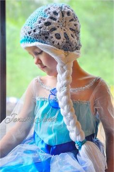 Frozen Snowflake Elsa Crochet Hat Pattern With Braid - Beanie Hat, Snowflake Braid, Elsa Dress