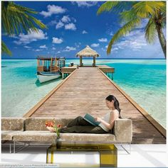 This tropical mural features a resplendent infinity pool, twinkling in the sun with the aquamarine ocean stretching out beyond. Blue and greens that scream tropical and beach will take you away to that special place in this mural. Epoxy 3d, Photowall Ideas, Beach Wall Murals, 3d Foto, Beach Room, Water Walls, Wall Decals, Wall Art, Home Wallpaper