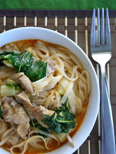 Red Thai Curry Noodles.  Delicious!   You could easily substitute beef or shrimp for the chicken.  Also, I would add more bok choy next time.