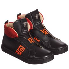 Young Versace Boys Orange & Black Leather High - Top Trainers at Childrensalon.com