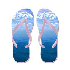 Future Imaging Designs: Blue Ocean Blue Sky With Clouds Flip Flops: Blue open Ocean Water spanning forever with a fluffy white cloud cover and blue sky. Sky And Clouds, Flip Flops, Great Gifts, Ocean, Future, Summer, Blue, Design, Future Tense