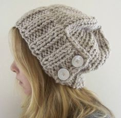 Chunky, slouchy, buttony hat.