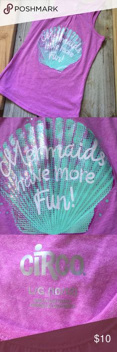 """Mermaids Have More Fun Tee Like new, superb condition """"mermaids have more fun """" sleeveless Tshirt/top Children's size Large 10/12 Circo Shirts & Tops Tank Tops"""