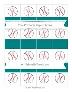Free Teal  Baseball Paper Chains