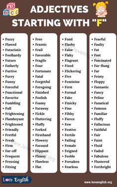 Adjectives that Start with f Common Adjectives, List Of Adjectives, English Adjectives, English Vocabulary, Learn English For Free, Improve Your English, Funny Conversations, Descriptive Words, Wine Guide