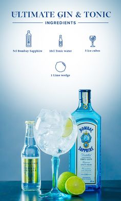 Ultimate Gin & Tonic:  1. Fill glass with ice cubes, add 5cl Bombay Sapphire and top off with tonic water and a splash of lime juice. 2. Garnish with a lime wedge.