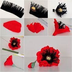 How to Make Red Chocolate Poppy Flower Bouquet - DIY TutorialsThis chocolate poppy flower is perfect for Valentine's Day or any special occasion! You can make a flower basket or flower bouquet with them or together with other flowers as…paper poppy wr Candy Flowers, Paper Flowers Craft, Crepe Paper Flowers, Felt Flowers, Flower Crafts, Diy Flowers, Fabric Flowers, Paper Roses, Bouquet Cadeau