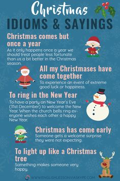 Popular English Christmas Idioms and Sayings - English Vocabulary - weihnacten English Idioms, English Vocabulary Words, English Phrases, Learn English Words, English Study, English Lessons, Spanish Grammar, French Lessons, Spanish Lessons