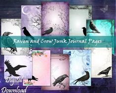Journal Paper, Junk Journal, Raven, Crow, Daily Journal, Scrapbook, Ravens, The Crow