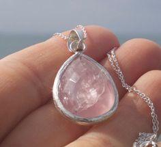 Rose Quartz Necklace Rose Quartz Pendant Rose by TherapyStonesOne