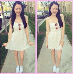 White dress w/converse  Simple but cute ❤