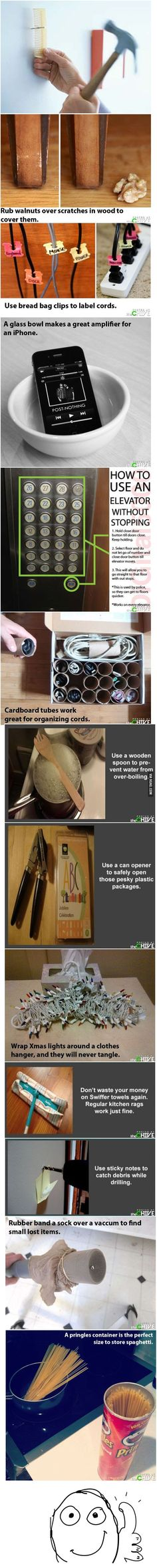 Saving this for the comb to hold a nail idea, and Christmas lights stored around metal hanger idea