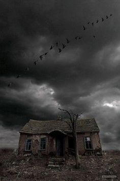 Love how dark and eerie this picture is Old Abandoned Houses, Abandoned Mansions, Abandoned Buildings, Abandoned Places, Old Houses, Spooky Places, Haunted Places, Creepy Houses, Spooky House