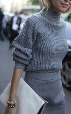 dressy grey sweater jumper tucked into a tight grey pencil skirt / work wear / womens fashion