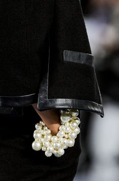 Chanel.  Large pearl cluster bracelets and necklaces are emerging as a top fashion accessory in Spring 2014. #pearls #ss14