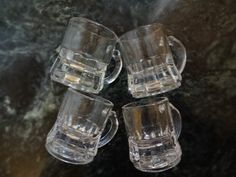 Vintage Federal Clear Mini Mug Shot Glass Set of Four | SelectionsBySusan - Kitchen & Serving on ArtFire