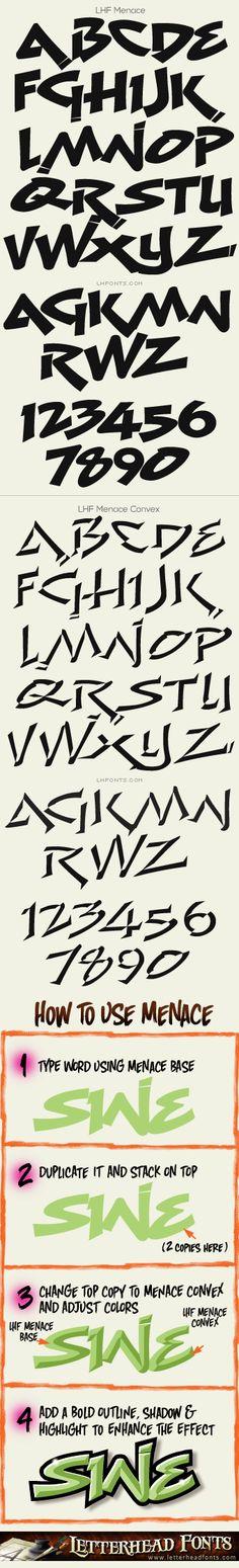 Letterhead Fonts / LHF Menace font set / Graffiti Fonts