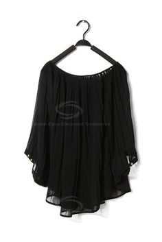 Stylish Scoop Neck Bat Wing Sleeves Loose Fitting Pleated Chiffon Shirt For Women