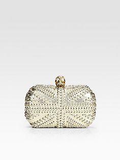 like it! love it! own it!  Alexander McQueen Metallic Leather Skull Clutch
