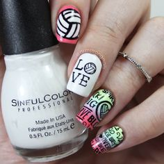 Bump. Set. Spike! Volleyball nail art - by Instagram@armstrongnails Volleyball Nail Art, Soccer Nails, Spike Volleyball, Football Nails, Volleyball Crafts, Fake Nails For Kids, How To Do Nails, Cute Nails, Pretty Nails