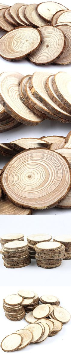 "Somnr® Pack of 50pcs 2""-2.5"" Unfinished Natural Blank Wood Slices Circles with Tree Bark Log Discs for DIY Craft Woodburning Christmas Rustic Wedding Ornaments"