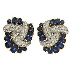Triple Swirl Earrings with Sapphires and Diamonds | From a unique collection of vintage clip-on earrings at https://www.1stdibs.com/jewelry/earrings/clip-on-earrings/