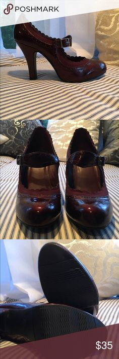 Super cute dark red Mary Janes Minimal wear! So cute!!!! Mossimo Shoes Heels