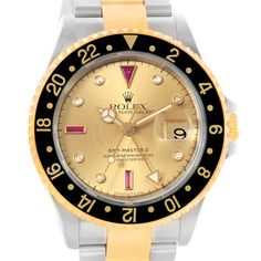 17749 Rolex GMT II Mens Yellow Gold Steel Watch Serti Dial 16713 Box Papers SwissWatchExpo