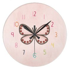 Cute girls numbered butterfly - pink and colorful wall Clock