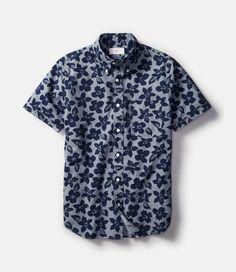 JACK SPADE / Wovens Floral Chambray Short-Sleeve Shirt
